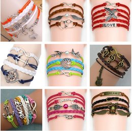 Wholesale 54 styles Bracelets Musical Note Wax Cords and Leather weave leather Bracelet Christmas Gift