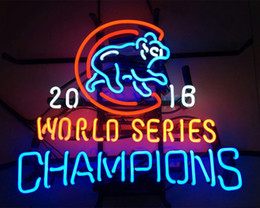 "Wholesale Bar Light Bulb - 17""x14"" Chicago Cubs World Series Champions 2016 Walking Bear Glass Tube BEER BAR NEON LIGHT WALL SIGN"