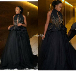 Wholesale Mysterious Black - Mysterious Sexy Black Keyhole High Collar Women Formal Evening Dresses 2017 Ball Gown Beading Lace Prom Dress Gowns for Special Occasion