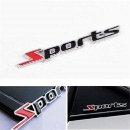 Wholesale Metal Sports Decals - 3D Word Sports Letter Chrome Metal Car Sticker Emblem Badge Decal Auto Decoration Sticker 2015 New Arrival