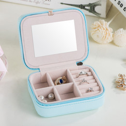 Wholesale Leather Rings Box - 2017 Korean Style PU Leather Jewelry Box Women Earring Ring Necklace Storage Box Jewelry Storage Organizer Container Mini Jewelry Boxes