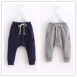 Wholesale Geometric Harems - Baby Boys solid children pants for boys trousers girls harem pants Kids calf-length pants candy kids child trousers
