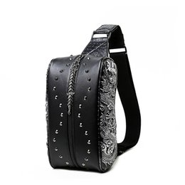 Wholesale Cooling Body Pillow - Wholesale- Cool 3D men chest bags high quality PU leather male bag small shoulder bags for men traval bag