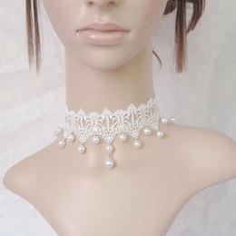Robe de perles en dentelle blanche en Ligne-Fée gothique pure beauté collier de perles en dentelle blanche robe de mariée collier de faux collier colliers bijoux chaîne clavicule