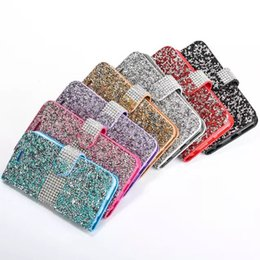 Wholesale Handmade Leather Card Wallet - Handmade Bling Rhinestone Cases Full Diamond Phone Wallet PU Flip Leather Cover Case For Apple iPhone 5s 6 6S 6s plus 7 7plus