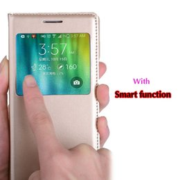 Wholesale Auto Flip - For Samsung Galaxy A5 2015   A7 2015 Smart View Case Auto Sleep Wake Up Function Flip Cover Magnetic Phone Sleeve Bag