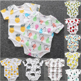 Wholesale Wholesale Organic Baby Rompers - Baby Clothes Ins Summer Rompers Cotton Cartoon Jumpsuits Fruits Lemon Bodysuits Cactus Pineapple Onesies Short Sleeve Fashion Overalls B2915