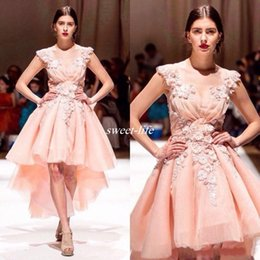 Wholesale Beaded High Low Homecoming Dress - Cheap High Low Prom Dresses Blush Pink 3D Floral Appliqued Lace Plus Size Formal Evening Gowns 2017 Sexy Sheer Jewel Neck Homecoming Dress