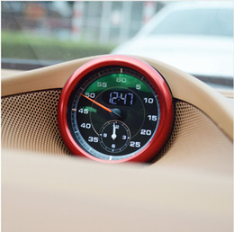 Wholesale Porsche Stickers - Red Interior Center Control Compass Decorative Ring For Porsche Cayenne Macan Panamera Aluminium Alloy Cover Trim Car Styling