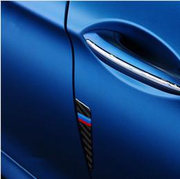 Wholesale Vinyl Strip Door - 4pcs Carbon fiber Car Door decoration auto Door crash scratch bumper strip 3D stickers for BMW F10 F30 F50 E46 E90 X1 X3 X5 X6
