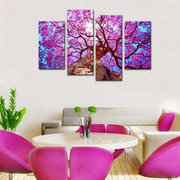 Wholesale Old Home Oil Painting - Canvas Prints Wall Art Painting 4 Panels Purple Old Tree Landscape Picture Modern Artwork for Living Room Home Decorations Framed