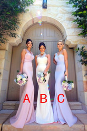 Wholesale Short White Silk Wedding Dresses - 3 Styles Neckline Mermaid Long Bridesmaid Dresses 2018 New Lilac One Shoulder Cheap Elegant Wedding Party Guest Wear Vintage Arabic Gowns