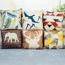 Wholesale Nordic Covers - The Nordic style Cotton and linen Printed Cushion Home Decor Jacquard designs cushion cover 45x45cm 17x17'' Car Home Decorative