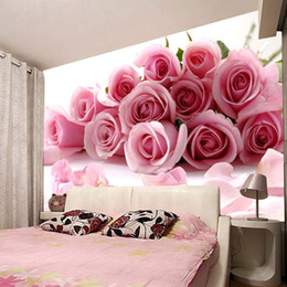 Wholesale Photo Wallpaper Wholesale - New photo love waterproof Modern fashion office living room bedroom wedding room pink red roses Customized art Mural 3d wallpaper home decor