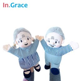 Wholesale finger gloves for babies - Wholesale-In.Grace brand lifelike grandpa grandma couple glove puppets for toddler early learning high quality muppet puppets for baby diy