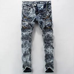 Canada Patch de mode hommes insigne déchiré biker jeans Pantalon de denim délavé à l'acide de neige occasionnels Plissé mince pantalon long droit JS-019 supplier snow pants Offre