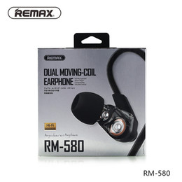 Wholesale Active Dual - Bass Earphones Remax RM-580 Quality Wire Control Dual Active-coil Earphones Stereo Music Headsets In-ear Style High-definition Microphone