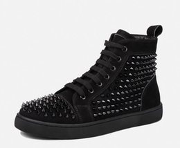 Wholesale Cheap Footwear For Men - 2018 Cheap red bottom sneakers for men Luxury black suede with Spikes fashion casual mens sneakers shoes Designer leisure trainers footwear