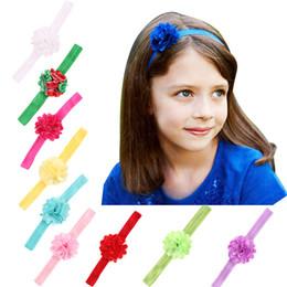 Wholesale Wholesale Skinny Satin Headbands - New newborn satin mesh flower elastic headbands baby girl chiffon flowers hair accessories children 17 colors skinny hairbands