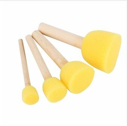 Wholesale Wooden Craft Products Wholesale - Factory direct new product hot Round Stencil Sponge Foam Brushes Wooden Handle for Furniture Art Crafts Stenciling Painting Tool Supplies