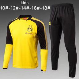 Wholesale Black Track Suits - 17 18 kids kit Tracksuit KAGAWA Soccer Hoodie Jacket Jogging Football Black Yellow AUBAMEYANG PULISIC Training Suit boys Football Track Suit