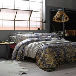 Wholesale Vintage Washing Machines - CHAUSUB Luxury Vintage Bedding Set 4pcs Gray Gold Satin Egpytian Cotton Duvet Cover King Queen Size Bed Sheets Silk Bed Linens