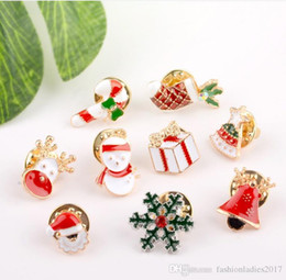 Wholesale Socks Bells - 3 Styles Creative Cartoon Christmas Brooches Cute Santa Claus Jingle Bells Socks Donuts Candy Enamel Pins XMAS Jacket Badges Brooch B645