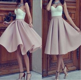 Wholesale Yellow Strapless Top - Sweetheart Short Homecoming Dresses 2017 White Top with Blush Pink Skirt Knee Length Sexy Outdoor Cocktail Gowns Girl Prom Party Wear