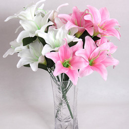 Wholesale Silk Flowers For Wedding Lily - 43cm Perfume Lily 10 heads Raw Silk Flower & Plastic cement Leaves Artificial Flowers For Wedding,Home,Party,Gift