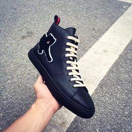 Wholesale Designer Leisure Shoes - 2017 Latest Brand Designer Applique Animal Top Black Genuine Leather Fashion Boots Lace-Up Comfortable Casual Flat Leisure Shoes