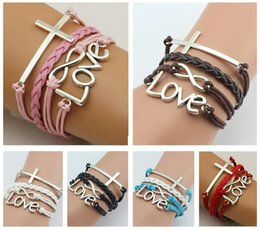 Wholesale Mixed Leather Bracelet Cross - Good A++ Fashion Cross the Redemption of the love infinite symbol multi-layer bracelet FB140 mix order 20 pieces a lot Charm Bracelets