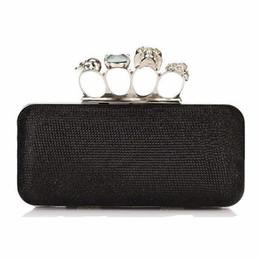 Wholesale Knuckle Skull Wallets - Wholesale-Fashion Women Knucklebox Clutch Skull Knuckle Ring Evening Bag Hardcase Handbags Shoulder Chain Punk Wallet Purse Drop Shipping