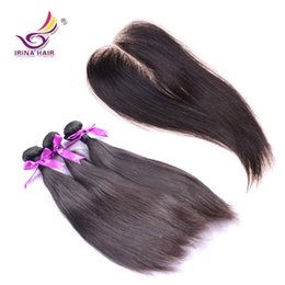 Wholesale Human Hair Full Head Closures - 100% Peruvian Full Head Virgin Human Hair Extensions with Closure Black Color Straight Human Hair Bundles With Closure 4pcs lot FreeShipping