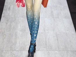 Wholesale Free White Pantyhose - Wholesale-Free Shipping Fashion Women 40D Velvet Slim Stretchy Elastic Gradient Pantyhose Peculiar Tight New Hot Star Print