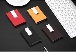 Wholesale Metal Business Card Boxes - Aluminium Card Holder Rfid Wallet Aluminum Purse Rfid Card Holder With PU Holster Metal Card Box 3 Colors