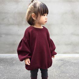 Wholesale Plain Tee Shirts Wholesale - ins hot sale children clothes baby girl puff sleeve plain color t-shirt autumn kids top tees