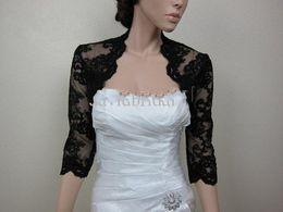 Wholesale Cheap Quality Jackets - Unique Design High Quality 3 4 Long Sleeve Black Lace Wedding Bridal Bolero Jackets Bridal Accessories Jacket Wraps Cheap