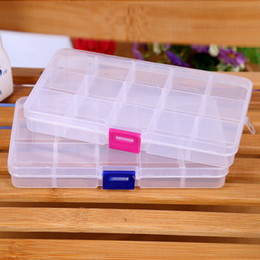 Wholesale Toy Earrings Wholesale - 15 Compartment Plastic Clear Storage Box Small Box for Jewelry Earrings Toys Container Free Shipping ELH039