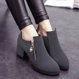 Wholesale Sexy Girls Rubber Boots - Wholesale- Thick Square Heels Ankle Boots For Women Spring Autumn Winter Sexy Zipper Color Mix Motorcycle Boots Fashion 2016 Girls Shoes