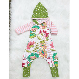 Wholesale Hoodie For Girls - Baby girls flower hooded romper stripe dots floral splicing colors hoodie onesie for 0-2T chic infants floral cloth long sleeve onesie