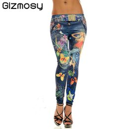 Wholesale Cowboy Leggings - Wholesale- Plus Size Slim New Women Sexy Seamless Imitation Cowboy Pants Printed Leggings Elasticity Fashion Butterfly Girl Pant BN089