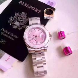 Wholesale Clock Girl - NEW Fashion luxury women watch pink dial blue dial steel brand wristwatch Quartz Girl Japan Movement Wristwatch Clock Diamond watches