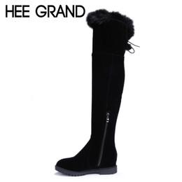 Wholesale-HEE GRAND Over-The-Knee Boots Rabbit Fur Zip Flock Winter Women  Boots Slim Inner Height Increasing Platform Shoes Woman XWX3557 f0b722fbfddf