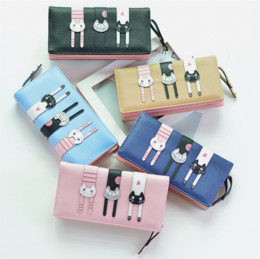 Wholesale Cat Evening Bags - 2017 New Mobile Phone Wallet Female Long Zip Fastener Cartoon Three Cats Fashion Women's Wallet Evening Bags
