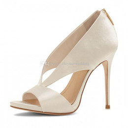 Wholesale Dinner Shoes - fashion white satin women wedding shoes brides high heels pumps peep toe shoes for evening party prom dinner form shoes