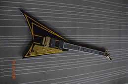 Wholesale Guitar Body Bridge - Free shipping 6 string custom guitar Flying v style with golden tuner and floyd rose bridges custom inlay on fingerboard