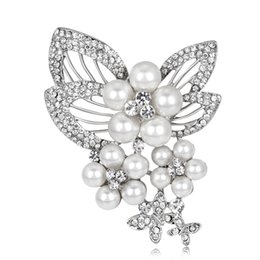 Wholesale china wholesale online - Online Wholesale Rhodium Plated Women Pin Brooches Imitation Pearl Brooches 55*76mm FBR074