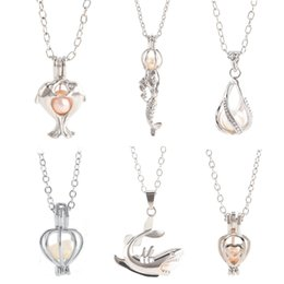 Wholesale Diy Slide Charms Hearts - 18kgp Fashion love wish pearl  gem beads locket cages, lovely DIY charm pendant mountings wholesale 50pcs lot (can mix different styles)