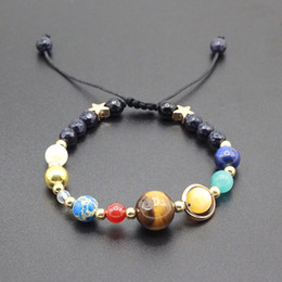 Wholesale Planet Charm Bracelet - Wholesale- Universe Galaxy the Eight Planets in the Solar System Guardian Star Natural Stone Beads Bracelet Bangle for Women & Men Gift
