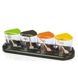 Wholesale plastic spice jars - Wholesale- Transparent Plastic Seasoning Box With Spoon Spice Storage Box Case Condiment Bottle Salt Spice Jar Cooking Supplies SB-001
